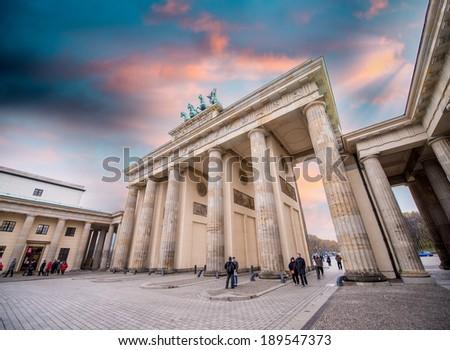 Sunset sky over Brandenburg Gate - stock photo