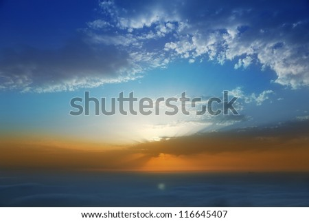 Sunset sky over haze sea of clouds in La Palma of Canary Islands - stock photo