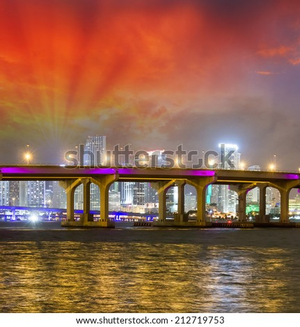 Sunset sky over Miami Bridge. - stock photo