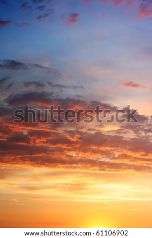 sunset sky with lighted clouds - stock photo