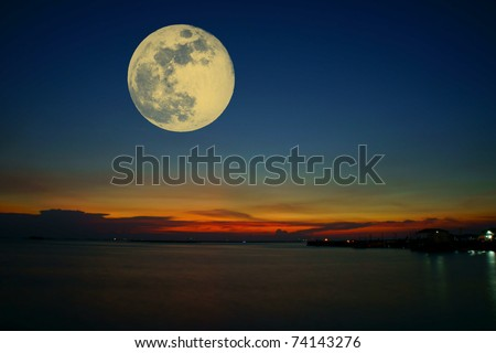sunset sky with moon - stock photo