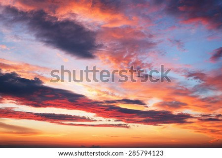 sunset sky with multicolor clouds - stock photo