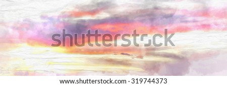 Sunset sky with watercolor techniques. - stock photo