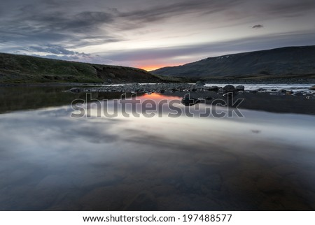 Sunset(Sunrise) at summer time in south Iceland./ Colors of Iceland - stock photo
