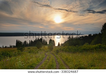 sunset, sunrise, river, silhouette, forest, water - stock photo