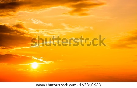 Sunset, sunrise with clouds. Yellow warm sky background - stock photo
