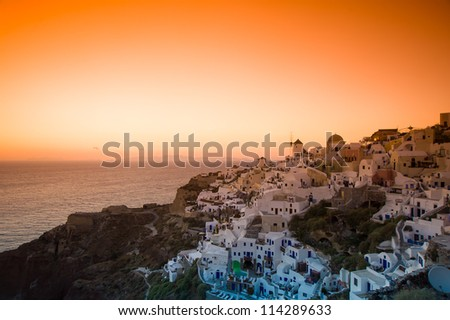 Sunset Thira at Santorini island in Greece - stock photo