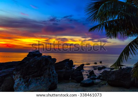 Sunset through the palm trees over the caraibe sea - stock photo