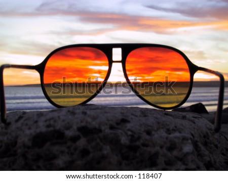 Sunset Thru Sunglasses - stock photo