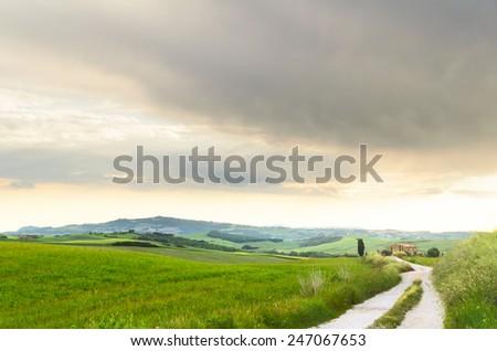 sunset Tuscany landscape, Toscana, Italy - stock photo