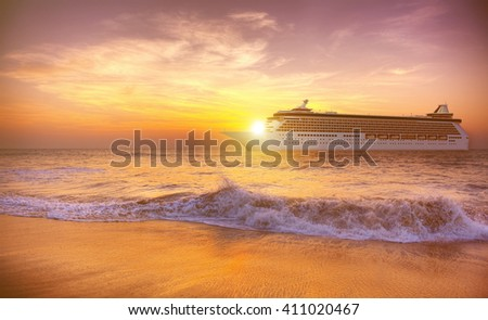 Sunset Twilight Dusk Ocean Wave Cruise Concept - stock photo