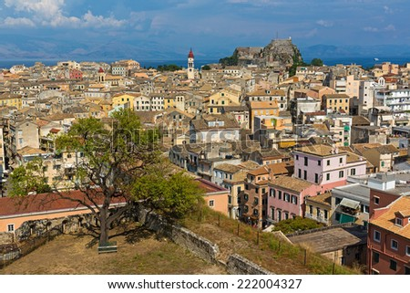 Sunset view city Kerkyra from walls of a new fortress. Corfu, Greece - stock photo