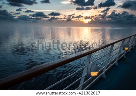 Sunset view during tourist cruise - stock photo