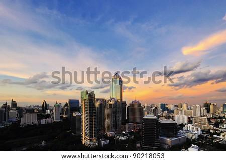 Sunset view of Bangkok cityscape, Thailand - stock photo
