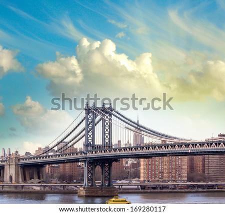 Sunset view of beautiful Manhattan Bridge - New York City. - stock photo