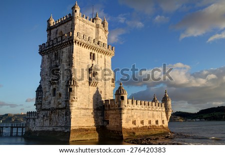 Sunset view of Belem Tower in Lisbon, Portugal - stock photo