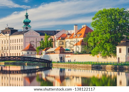 Sunset View of Ceske Budejovice / Budweis in the Czech Republic - stock photo