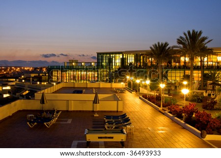 Sunset view of of a modern hotel in Lanzarote Island Spain - stock photo