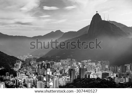 Sunset view of  Rio de Janeiro Brazil - stock photo