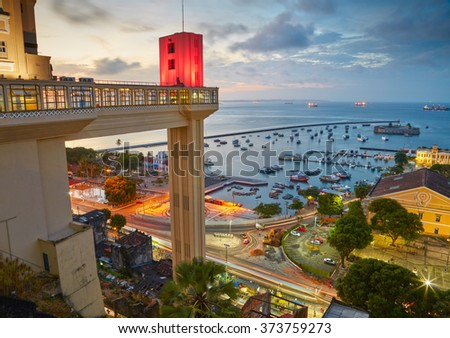 Sunset view of Salvador City in Bahia, Brazil - stock photo