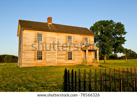 Sunset view of the old Henry House at Manassas Civil War battlefield where the Bull Run battle was fought. 2011 is the sesquicentennial of the battle - stock photo