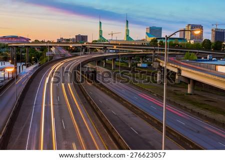 Sunset Vista of Portland Oregon over Interstate 5 - stock photo