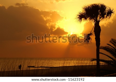 Sunset Walk Along a Florida Beach Horizontal With Copy Space - stock photo