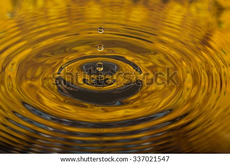 sunset water reflection and water drop - stock photo