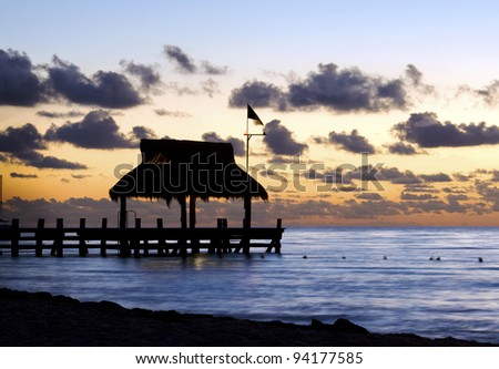 Sunset, West coast of Cozumel Island, Mexico - stock photo