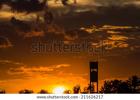 Sunset with beautiful  sky at twilight time - stock photo