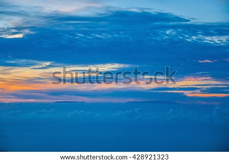 Sunset with canary islands, view from Teide volcano, Tenerife, Canary Islands. - stock photo