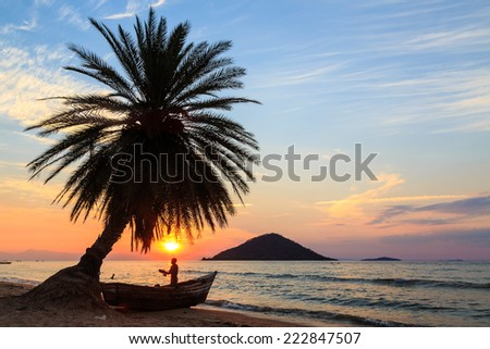 Sunset with palm tree and boat at the beach in africa - stock photo