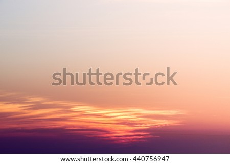 Sunset with sun rays, sky with clouds and sun. - stock photo