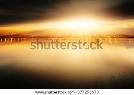 Sunset with views of the lake foggy 3d rendering. - stock photo