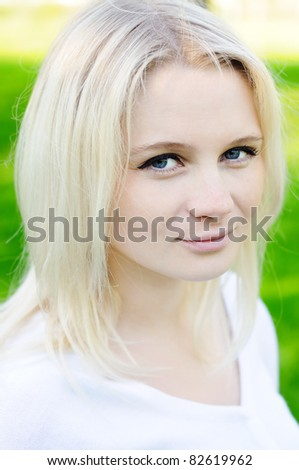 Sunset young woman portrait - stock photo