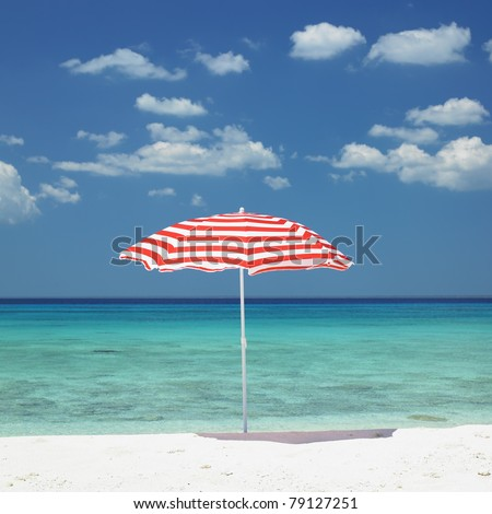sunshade, Maria la Gorda Beach, Pinar del Rio Province, Cuba - stock photo