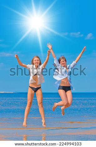 Sunshine Beach Portrait of Two  - stock photo