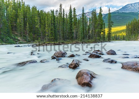 Sunwapta River with island at the jasper national park canada - stock photo