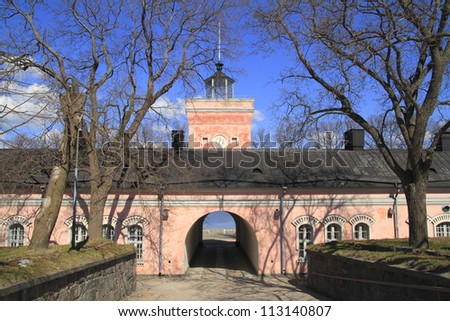 Suomenlinna is a fortress in the harbour of Helsinki. - stock photo