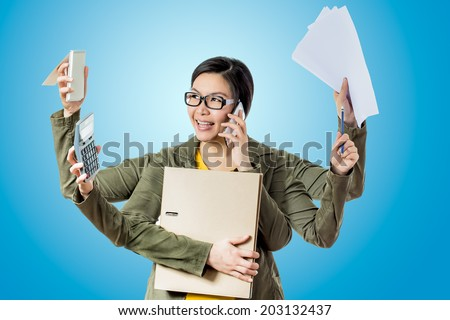 super asian working woman happy to work hard worker in blue background - stock photo
