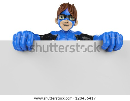 super boy holding a sign front view - stock photo