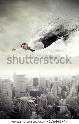 super businessman - stock photo