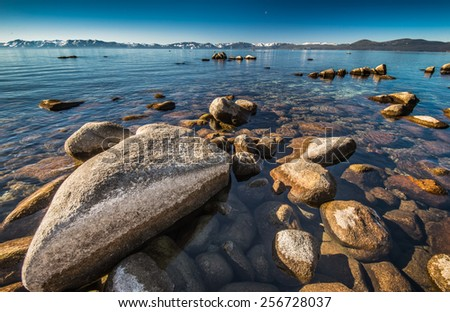 Super clear water at Lake Tahoe - stock photo