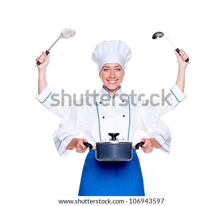 super cook with many hands. studio shot over white background - stock photo
