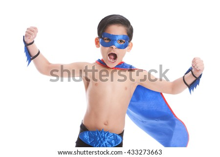 Super Fun!  Adorable, mixed race boy, pretending to be a superhero.  Isolated on white - stock photo