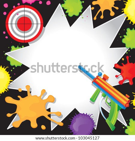 Super fun Paintball Birthday Invitation with colorful paintball gun shooting at a bullseye target with cool comic book starbursts paint splatters - stock photo