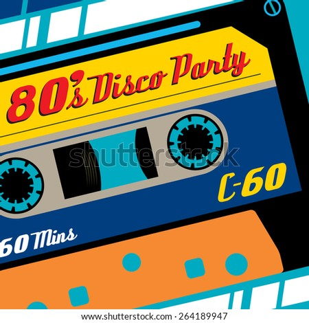 Super Funky Retro Eighties Styled Banner featuring old fashioned C60 Tape Cassette. - stock photo