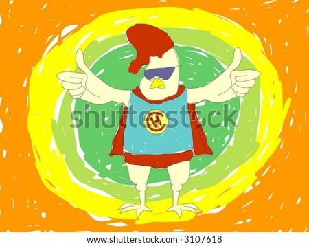 Super hero Chicken - stock photo
