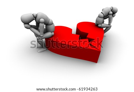Super high resolution 3D Mannequins Sitting on broken heart in red. - stock photo