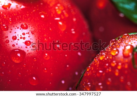 Super macro shot of tomatoes surface with water drops. Selective focus with very shallow depth of field. - stock photo
